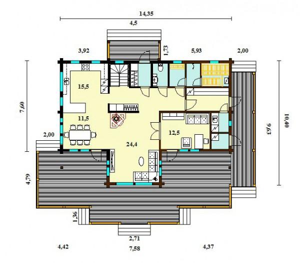 Дом Арктик 244. План первого этажа