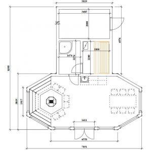 Баня с беседкой и хозяйственным блоком под одной крышей Гранд 40